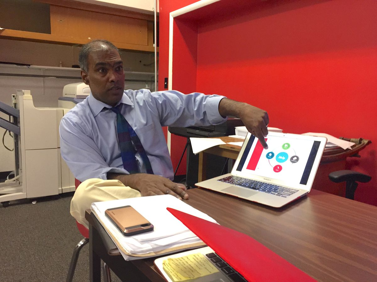 Matchbook Learning CEO Sajan George explains the Spark system his management company uses at Michigan Technical Academy, a Detroit charter school