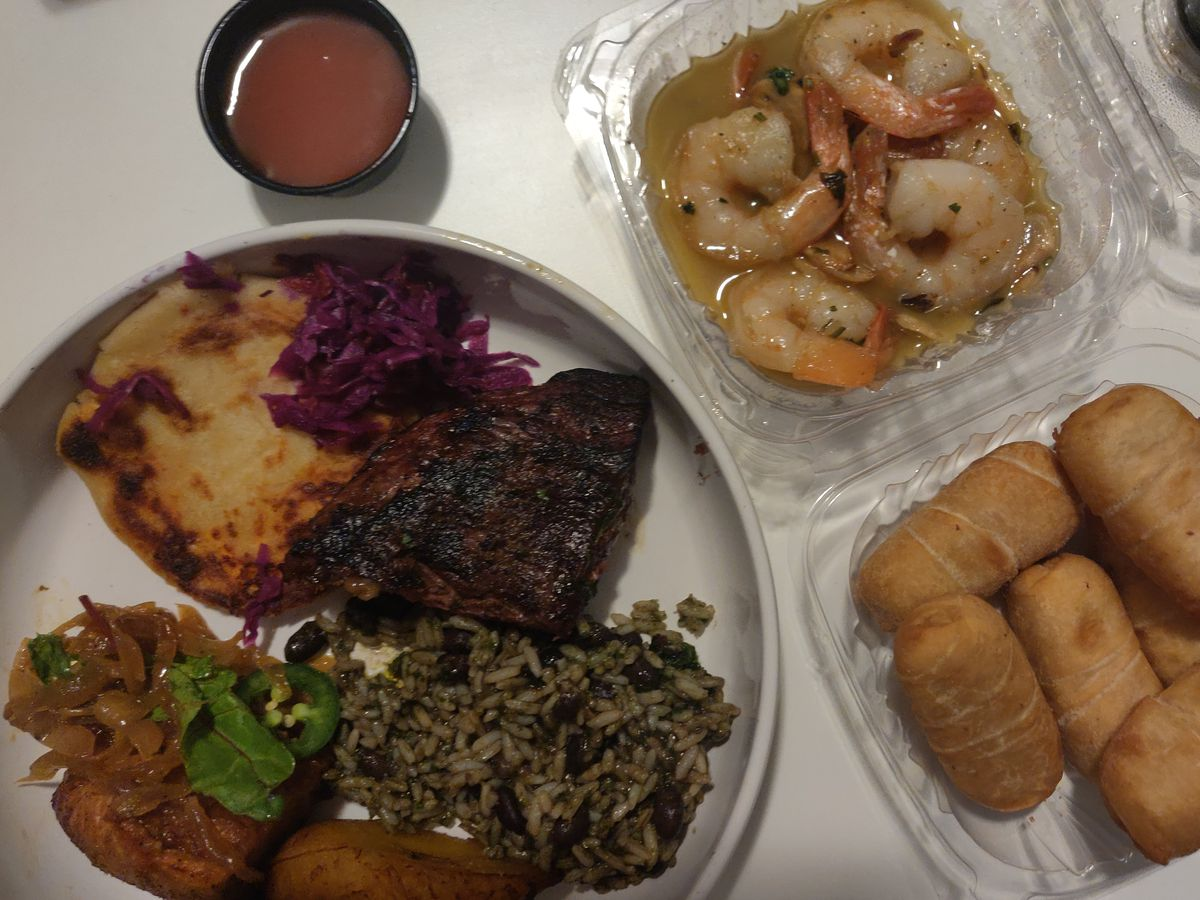 Shrimp sauteed with garlic, puff pastry wrapped queso blanco, and more from Peka