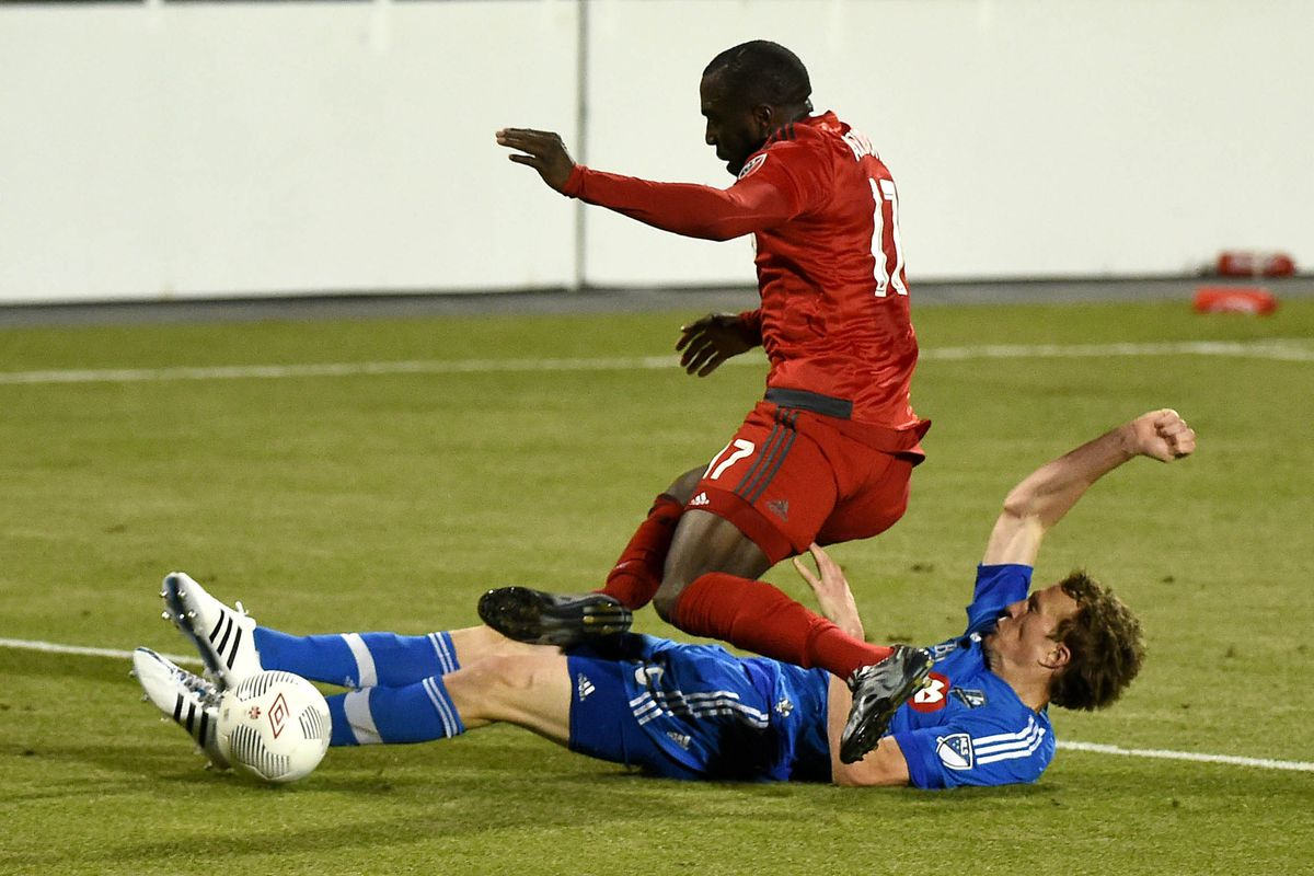 Lefèvre makes one of his key tackles against TFC on Wednesday