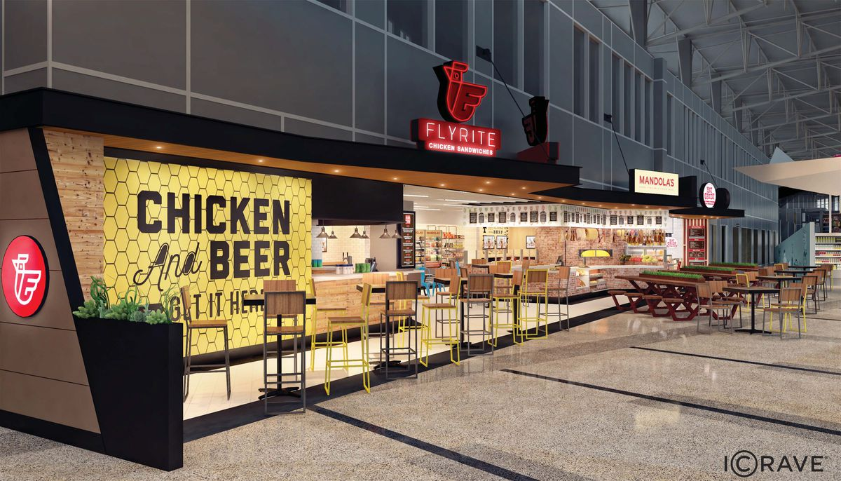 Rendering of the West Food Court, with Flyrite Chicken, Mandola's, and Hat Creek Burger Co.