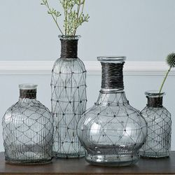"""Wire Bottle Bud Vases, <a href=""""http://www.westelm.com/products/wire-ribbed-glass-vase-collection-d1539/?pkey=e