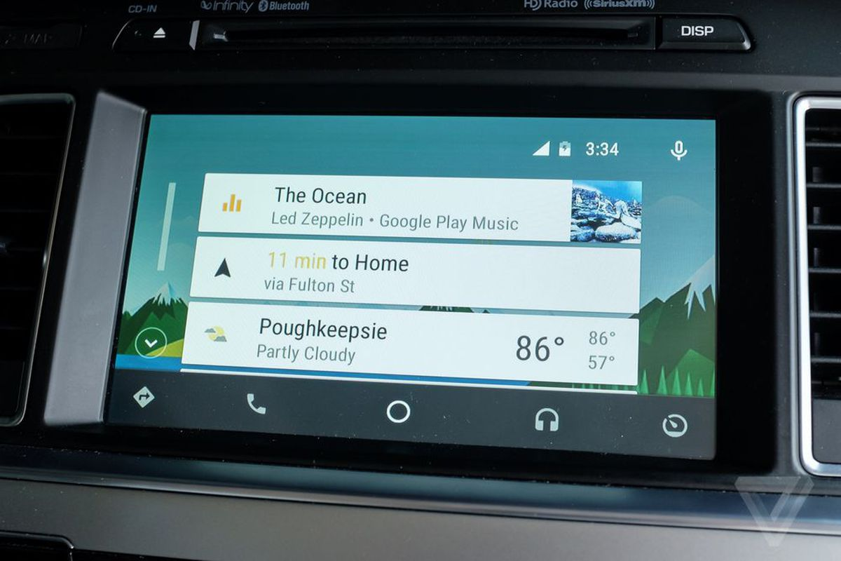 finally you can say ok google to command android auto in your car the verge. Black Bedroom Furniture Sets. Home Design Ideas