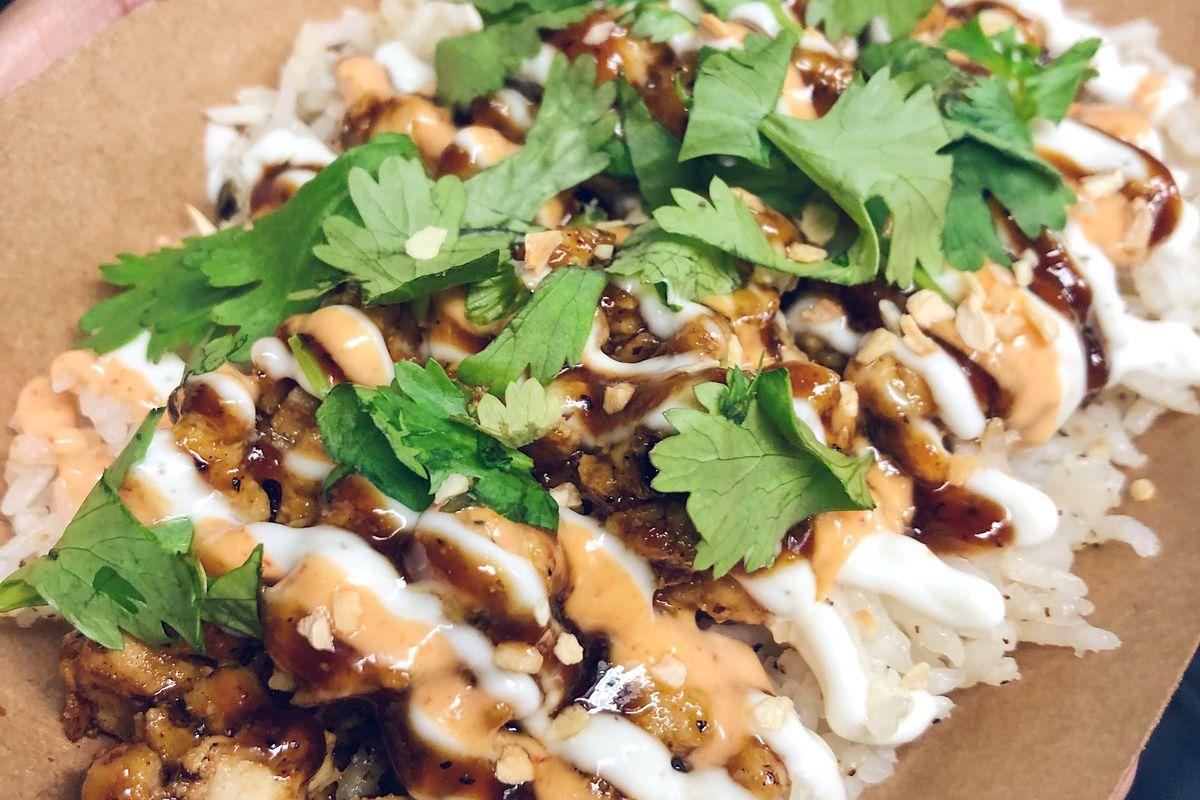 Sticky's chicken over rice