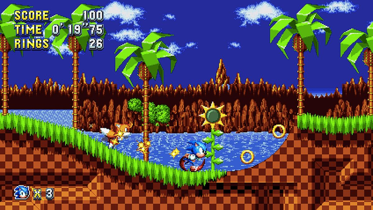 An image of Sonic and Tails running in Sonic Mania