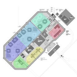 Preliminary, conceptual sketch of the zones for the new Utah State Prison. Purple and Blue represent two separated general prison populations. Bluish Green is therapeutic communities. Pink is the women's prison. Yellow is maximum security, and true green is the reentry preparation facility. The gray areas contain administrative, health services, recreation and classroom space. Since this sketch was drawn the distribution of these units within the larger prison have moved considerably. New sketches are due in April.