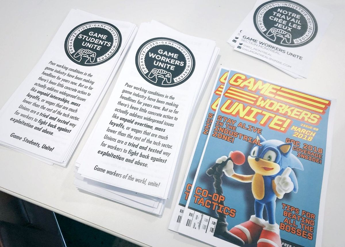 Flyers for a local chapter of Game Workers Unite in Montreal, September 2018.