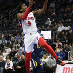 Detroit Pistons guard Langston Galloway (9) goes to the basket against the Utah Jazz during the first half of an NBA basketball game Saturday, March 7, 2020, in Detroit. The Jazz defeated the Pistons 111-105.