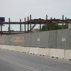 5:02 p.m. The new structure in the triangle lot, seen from Clark Street -