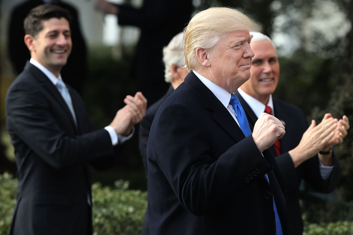 President Trump Speaks On The Passage Of The GOP Tax Plan At The White House