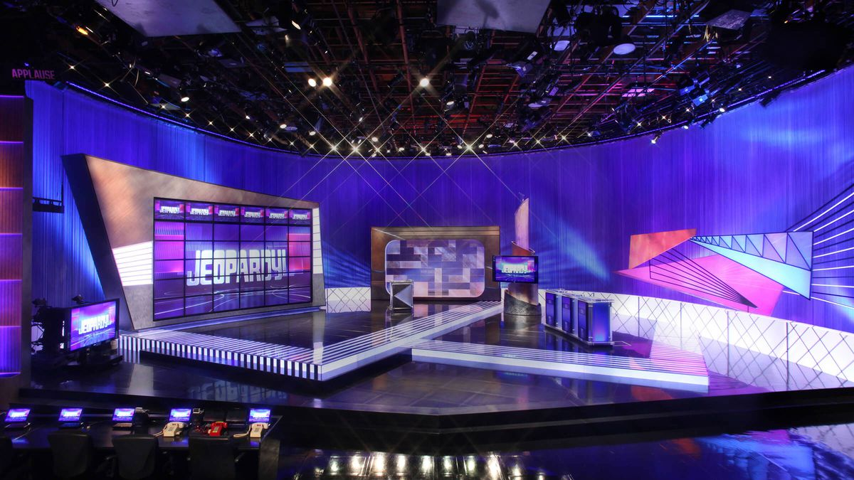 the jeopardy stage in purple and blue