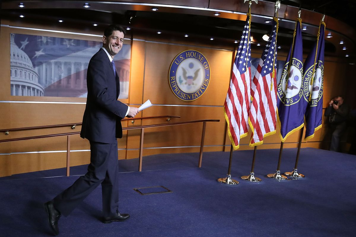 House Speaker Paul Ryan (R-WI) arrives to speak about the Republican tax cuts in December.