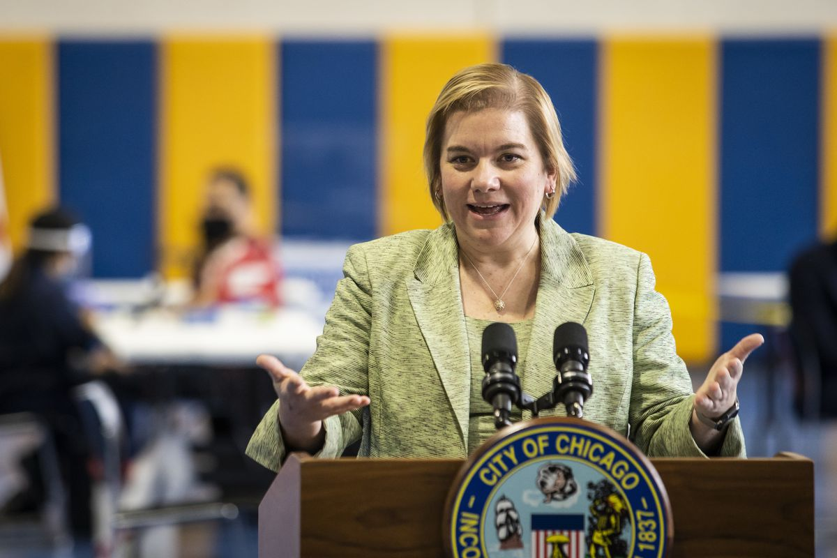 Chicago Public Health Commissioner Dr. Allison Arwady, pictured at a January news conference.