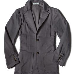 """This <a href=""""http://www.commonwealthproper.com/shop/unconstructed-brushed-cotton-twill-blazer-graphite/"""">Ready-to-wear Cotton Blazer</a> ($395) from <a href=""""http://philly.racked.com/places/commonwealth-proper"""">Commonwealth Proper</a> is a great addition"""