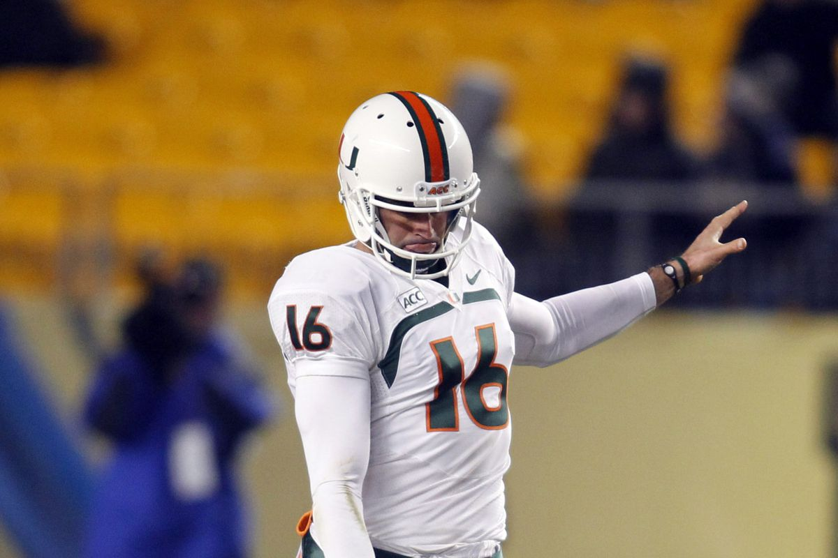 Punter Pat O'Donnell launches a bomb against Pitt
