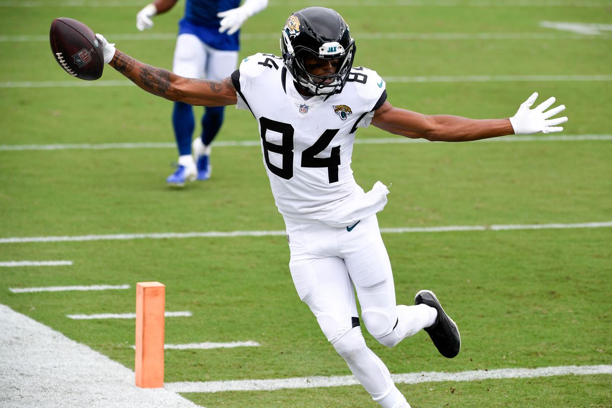 Jacksonville Jaguars wide receiver Keelan Cole Sr. makes a reception for a touchdown during the fourth quarter against the Indianapolis Colts at TIAA Bank Field
