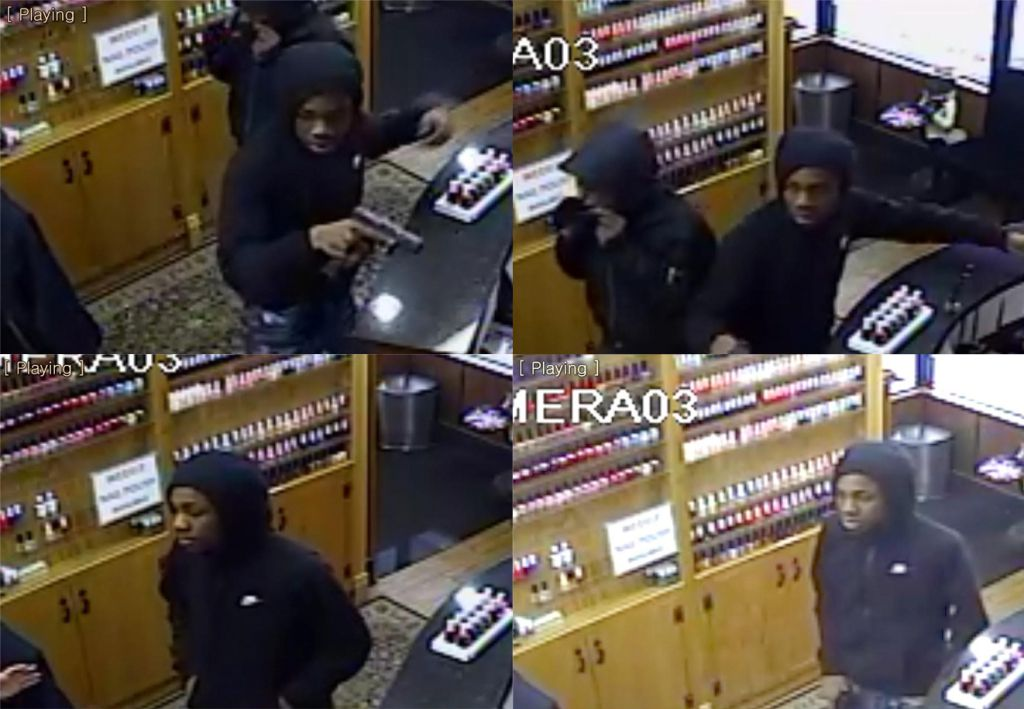 Surveillance photos of two armed suspects who robbed a nail salon on Dec. 1 in the 2100 block of West Roscoe. | Chicago Police