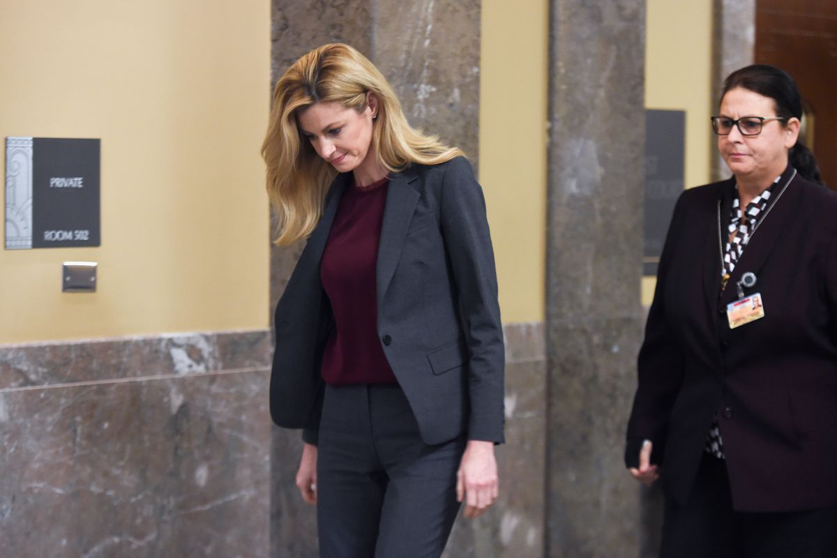 Sportscaster and TV personality Erin Andrews, left, leaves the courtroom on March 2, 2016, in Nashville, Tennessee.