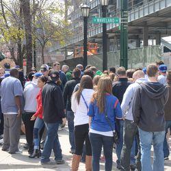 12:10 p.m. Crowd bottleneck in front of Murphy's at Waveland & Sheffield -