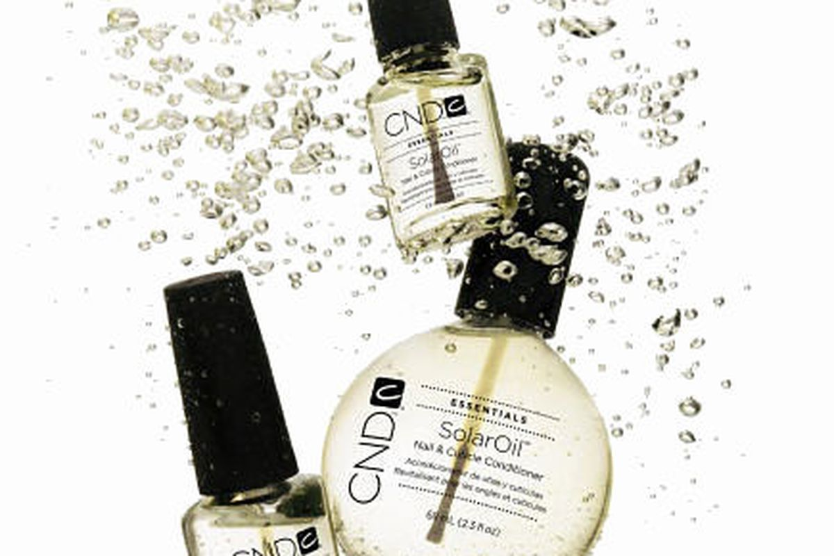 """CND <a href=""""http://cnd.com/products/nail-essentials/cuticle-treatments/solaroil"""">SolarOil</a>, $11.50 and up"""