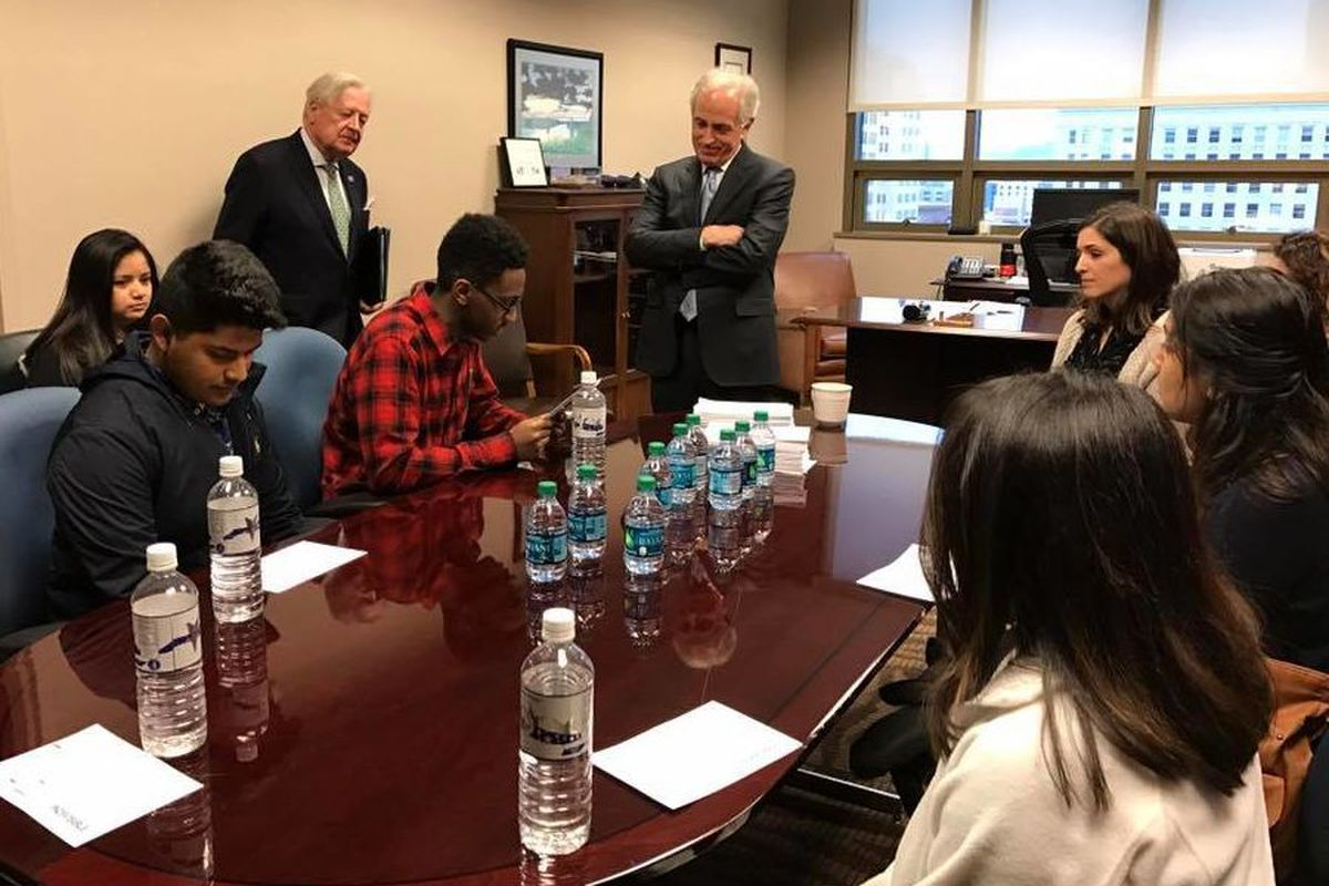 Tennessee students meet with U.S. Sen. Bob Corker in Chattanooga on Feb. 27 to urge support for federal protections to undocumented immigrant students under DACA.