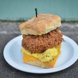 A nod to Time Out, Chapel Hill's classic 24-hour fried chicken joint, Pera's biscuit features fried-to-order chicken, local scrambled yard egg, and cheddar on a housemade biscuit.
