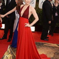 Amy Adams keeping the red trend alive in plunging number by Valentino.