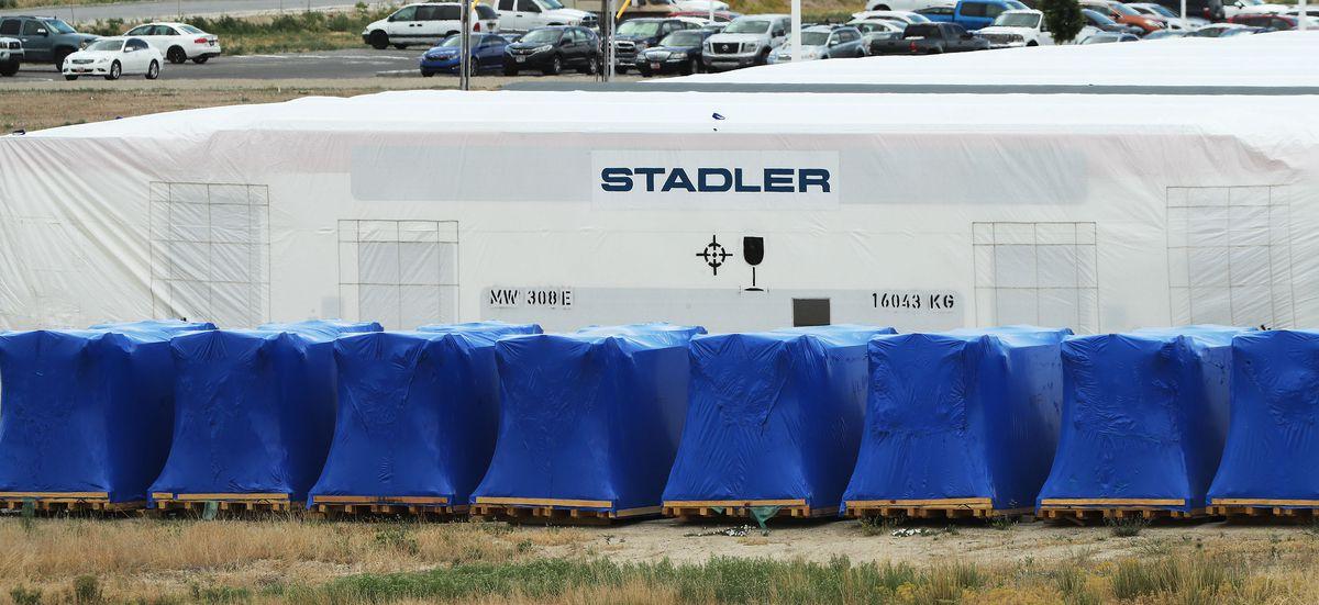 Trains and rail cars are produced Stadler US Inc. in Salt Lake City on Thursday, June 10, 2021.