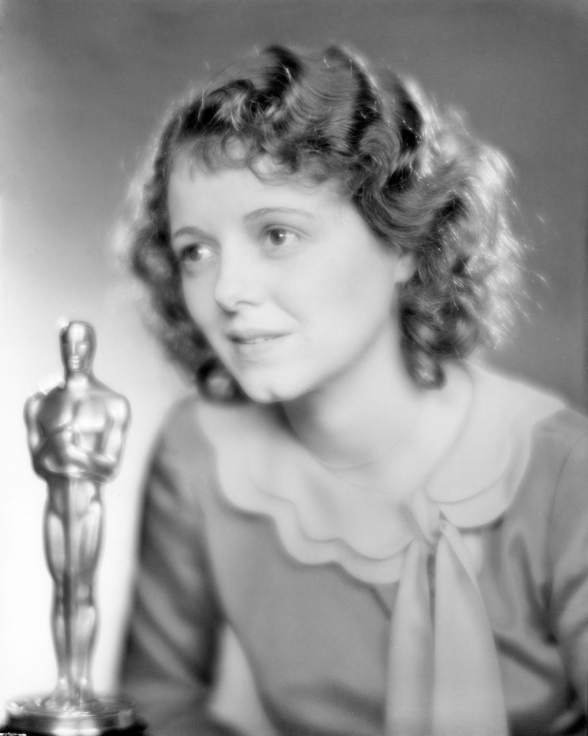 Actress Janet Gaynor with her Best Actress Academy Award in 1929.