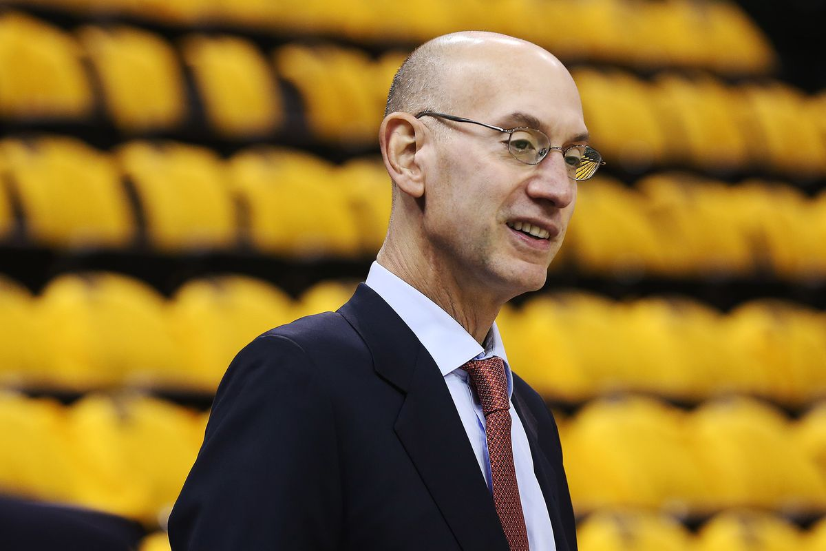 NBA Commissioner Adam Silver attends the second round of the NBA playoffs and Game 3 in Salt Lake City on Saturday, May 6, 2017.