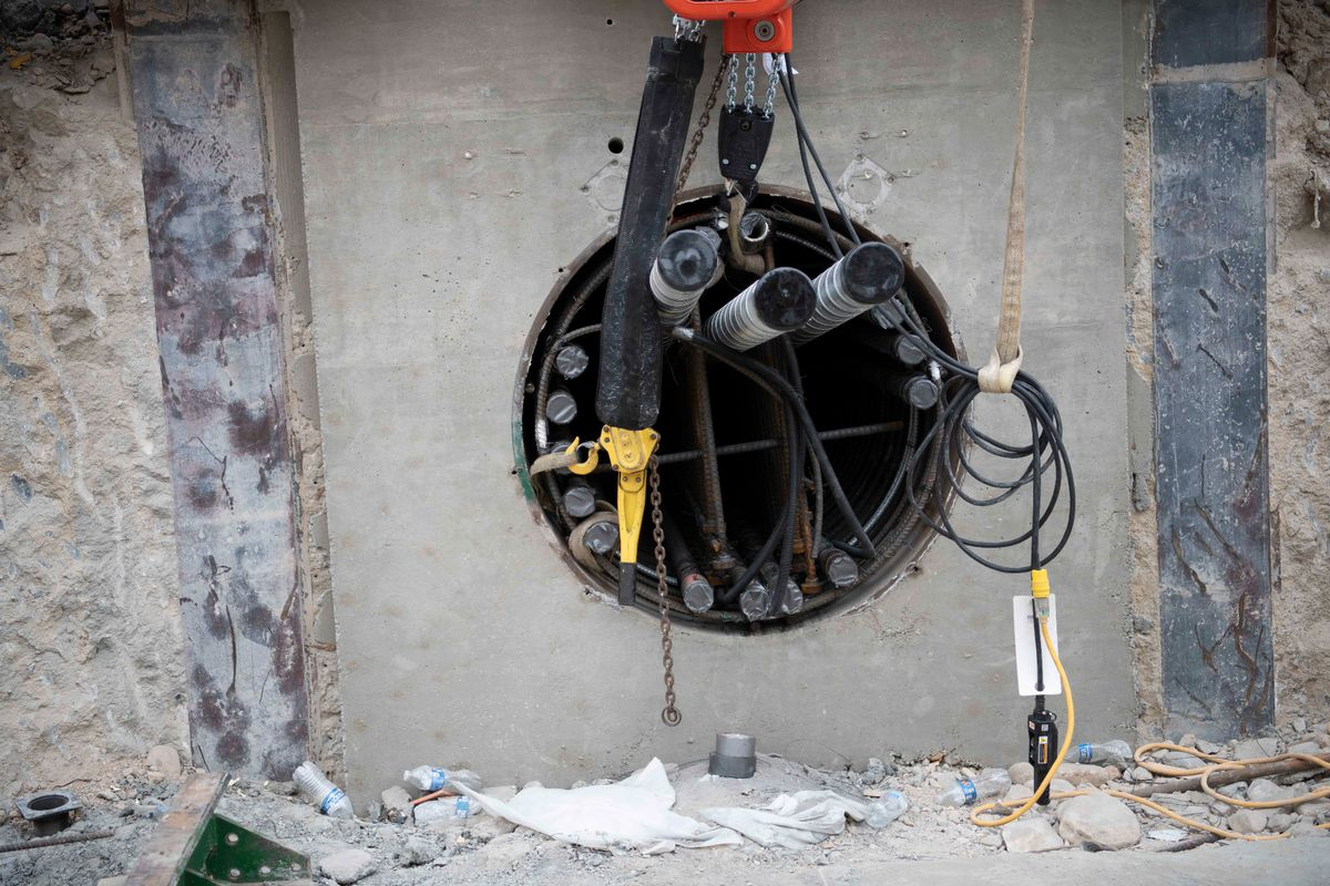 Pipes installed during the jack and bore process are filled with reinforced steel, including post-tensioning strands and high-strength concrete.