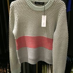 Crew neck collage sweater, $118 (was $785)