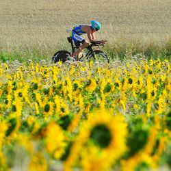 A participant competes during the bike leg of Challenge Roth on July 20, 2014 in Roth, Germany. (Photo by Lennart Preiss/Getty Images)
