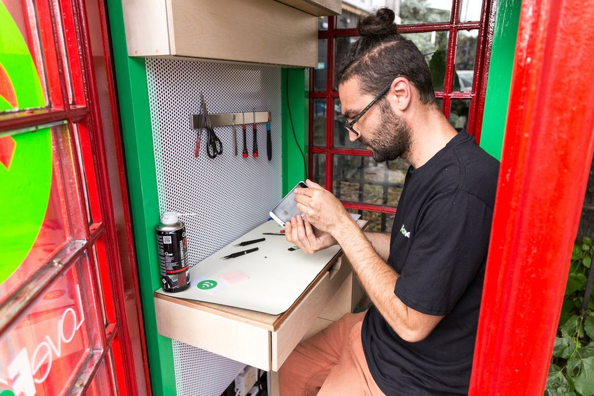 red phone booth phone repair