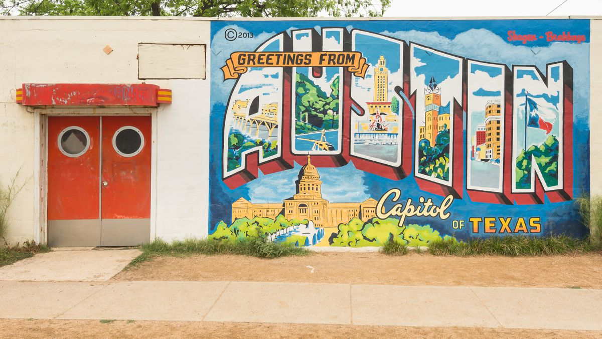 Greeting from Austin mural
