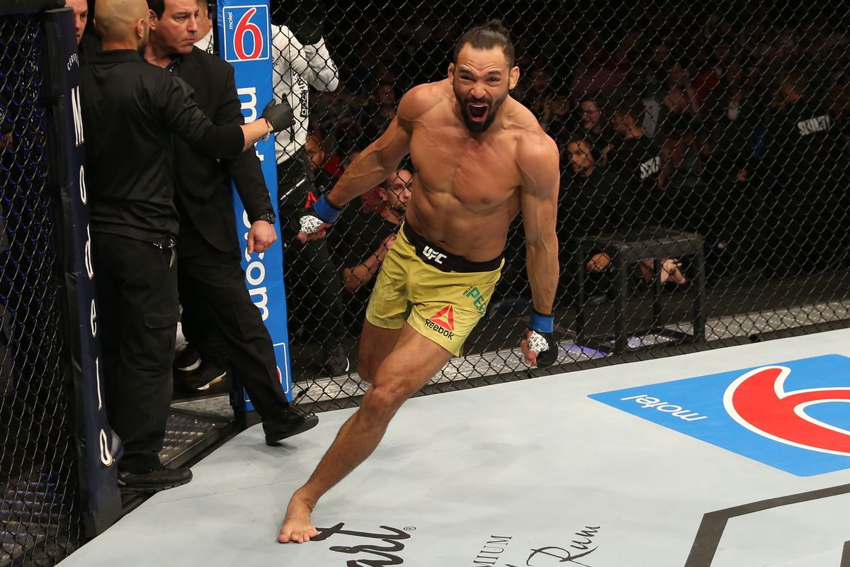 Michel Pereira of Brazil celebrates after his knockout victory over Danny Roberts of the United Kingdom in their welterweight bout during the UFC Fight Night event at Blue Cross Arena on May 18, 2019 in Rochester, New York.