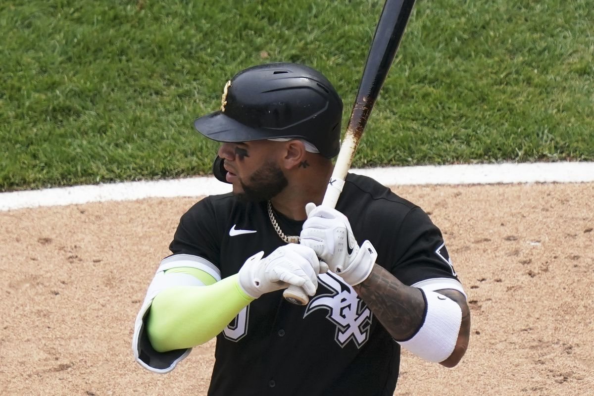Yoan Moncada #10 of the Chicago White Sox bats against the Kansas City Royals during the seventh inning of a game at Guaranteed Rate Field on May 16, 2021 in Chicago, Illinois.