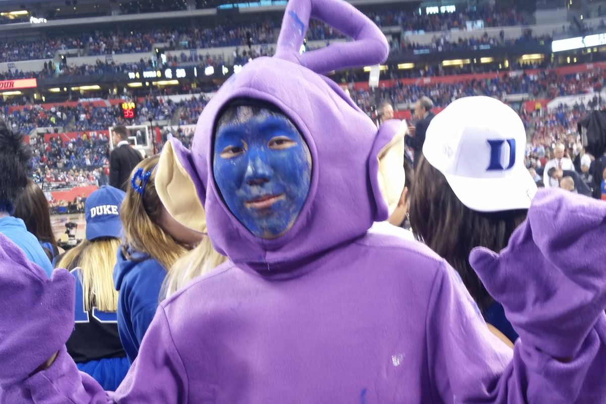 Yitaek Hwang is channeling Tinky Winky for his Duke Blue Devils