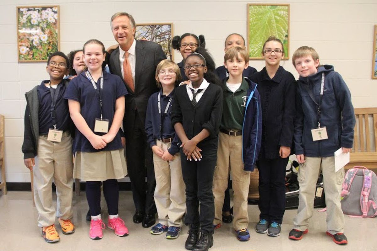 Gov. Bill Haslam poses in October with students at Riverwood Elementary School in Cordova, where he celebrated Tennessee's 2015 NAEP results.