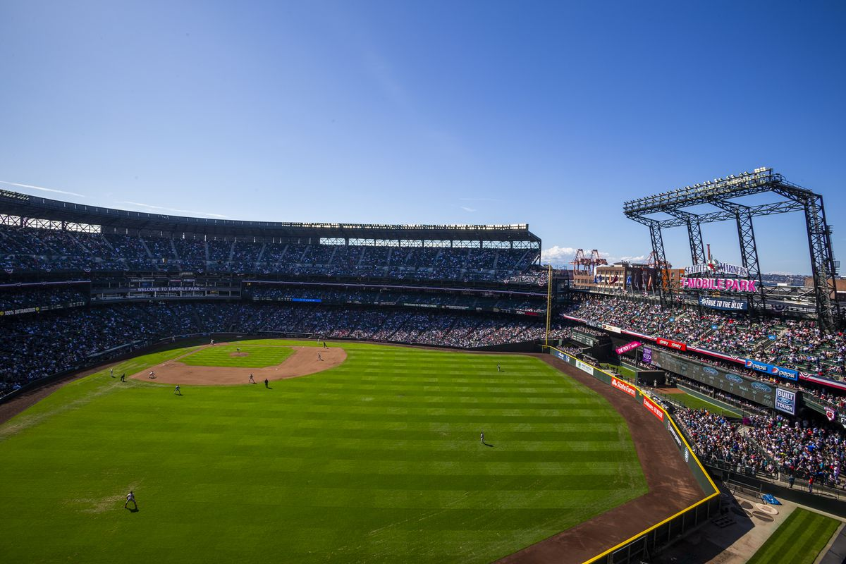 A general view of T-Mobile Park as seen during a Seattle Mariners game on March 31, 2019 in Seattle, Washington.