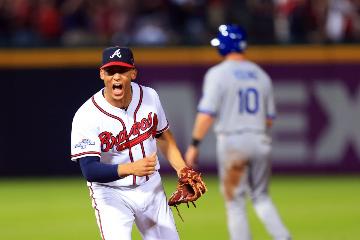 Atlanta Braves shortstop Andrelton Simmons reacts after turning a double play.