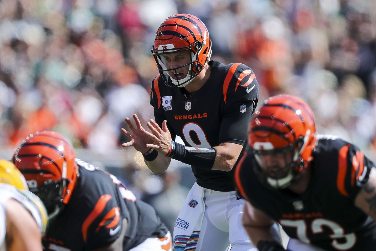 Cincinnati Bengals quarterback Joe Burrow (9) calls a play against the Green Bay Packers in the first half at Paul Brown Stadium.