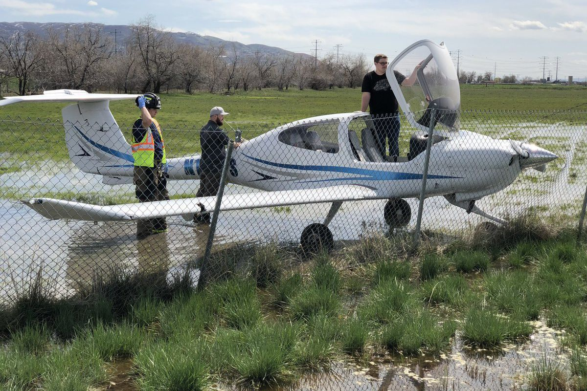A small plane landed in a field just east of Legacy Parkway on Monday after losing fuel pressure, police said.