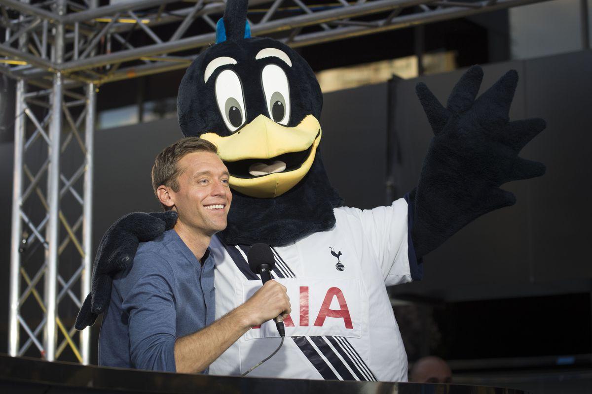 Former USA international Jimmy Conrad with Tottenham Hotspur mascot Chirpy