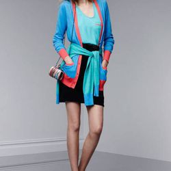 Cardigan in Dresden blue and Calypso coral, $32.99; sweater in Dresden blue/Atlantis, $29.99; tank top, $19.99; miniaudiere in Nolita print, $34.99; ankle-strap pumps in Apple red, $39.99