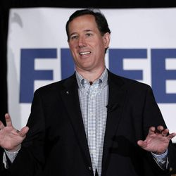 Republican presidential candidate, former Pennsylvania Sen. Rick Santorum speaks in Shawano, Wis., Monday, April 2, 2012.