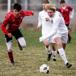 Springville's Isaac Dial and Wasatch's Tyson Myers chase the ball during a boys soccer game in Springville on Tuesday, March 23, 2021.