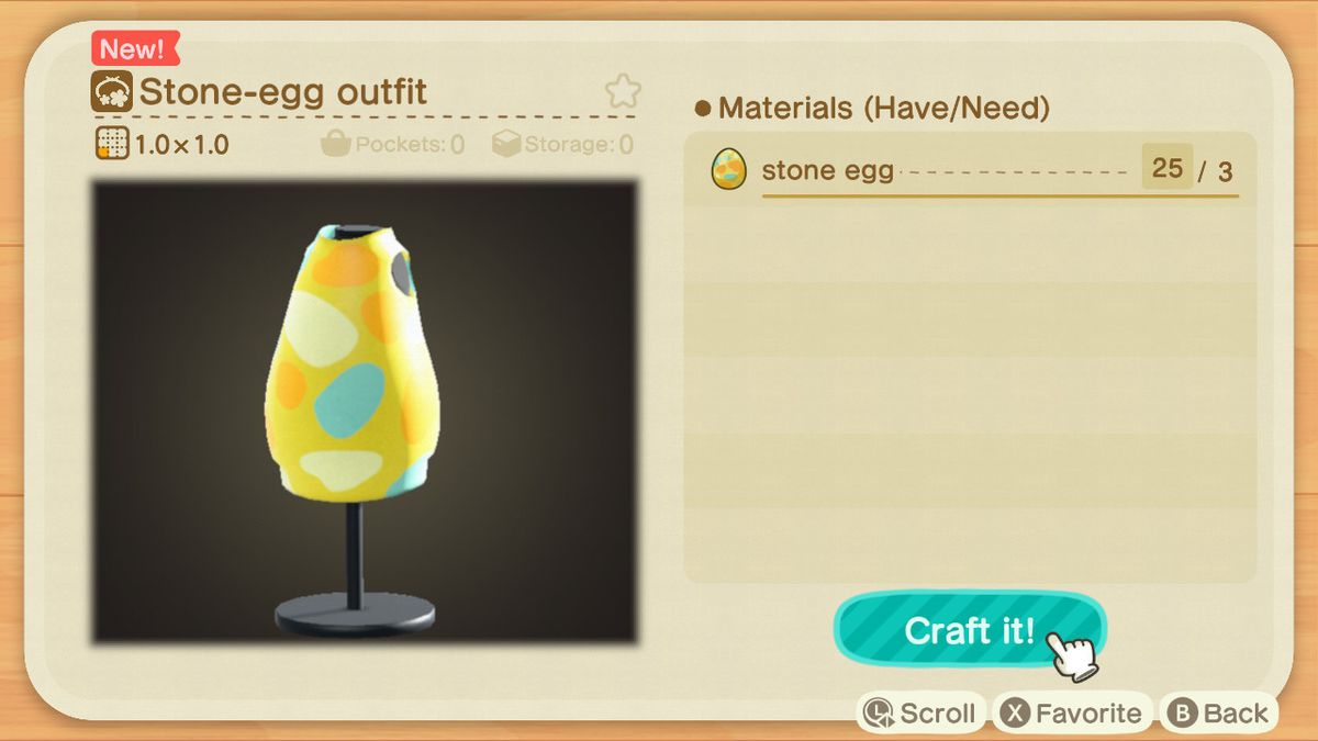 A crafting screen in Animal Crossing showing how to make a Stone-Egg Outfit