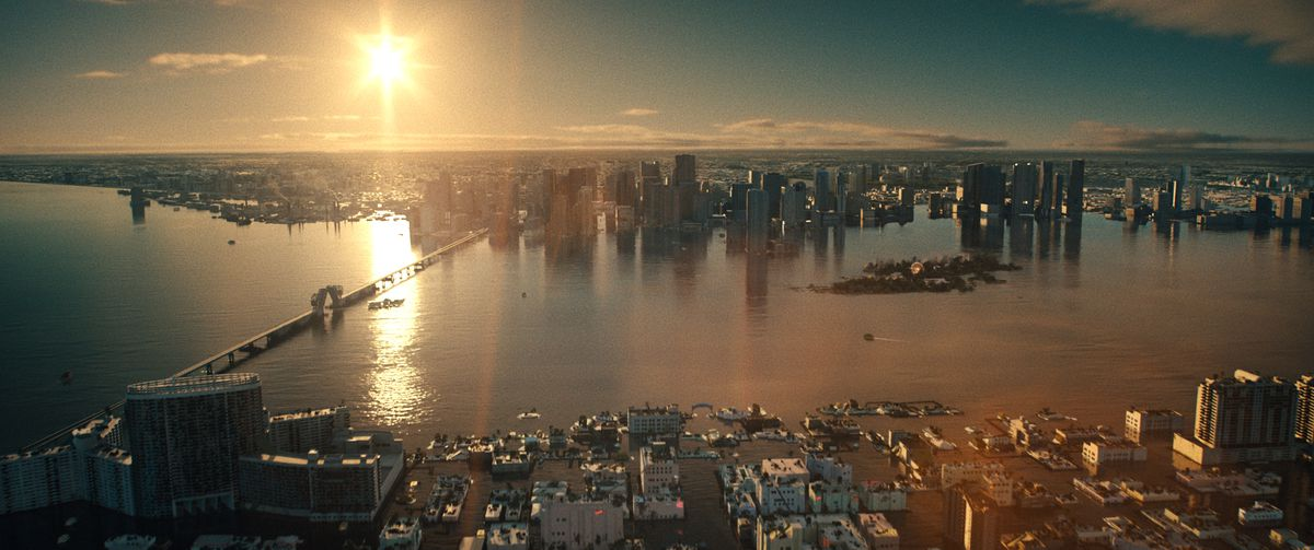 The Miami coastline flooded by high seas in Reminiscence
