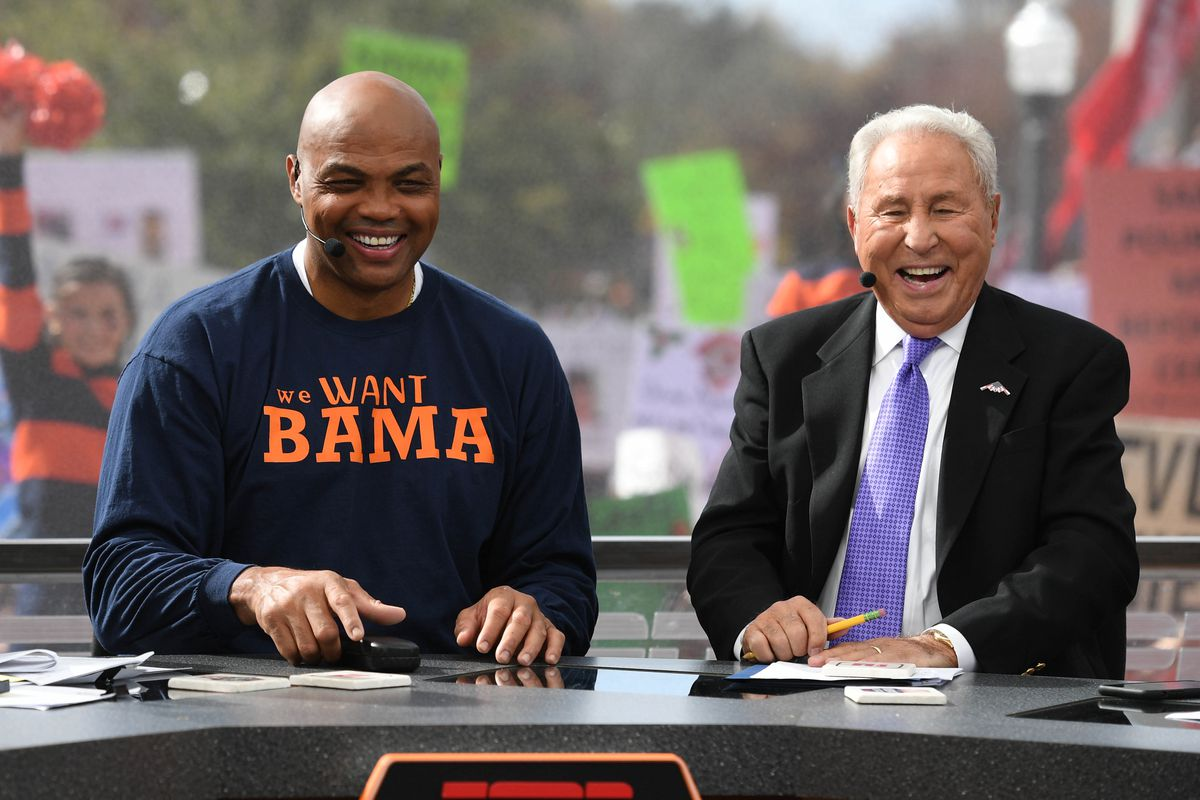 ef9b03f21b Nov 25, 2017; Auburn, AL, USA; Charles Barkley and Lee Corso on College  GameDay before the game between the Auburn Tigers and the Alabama Crimson  Tide at ...