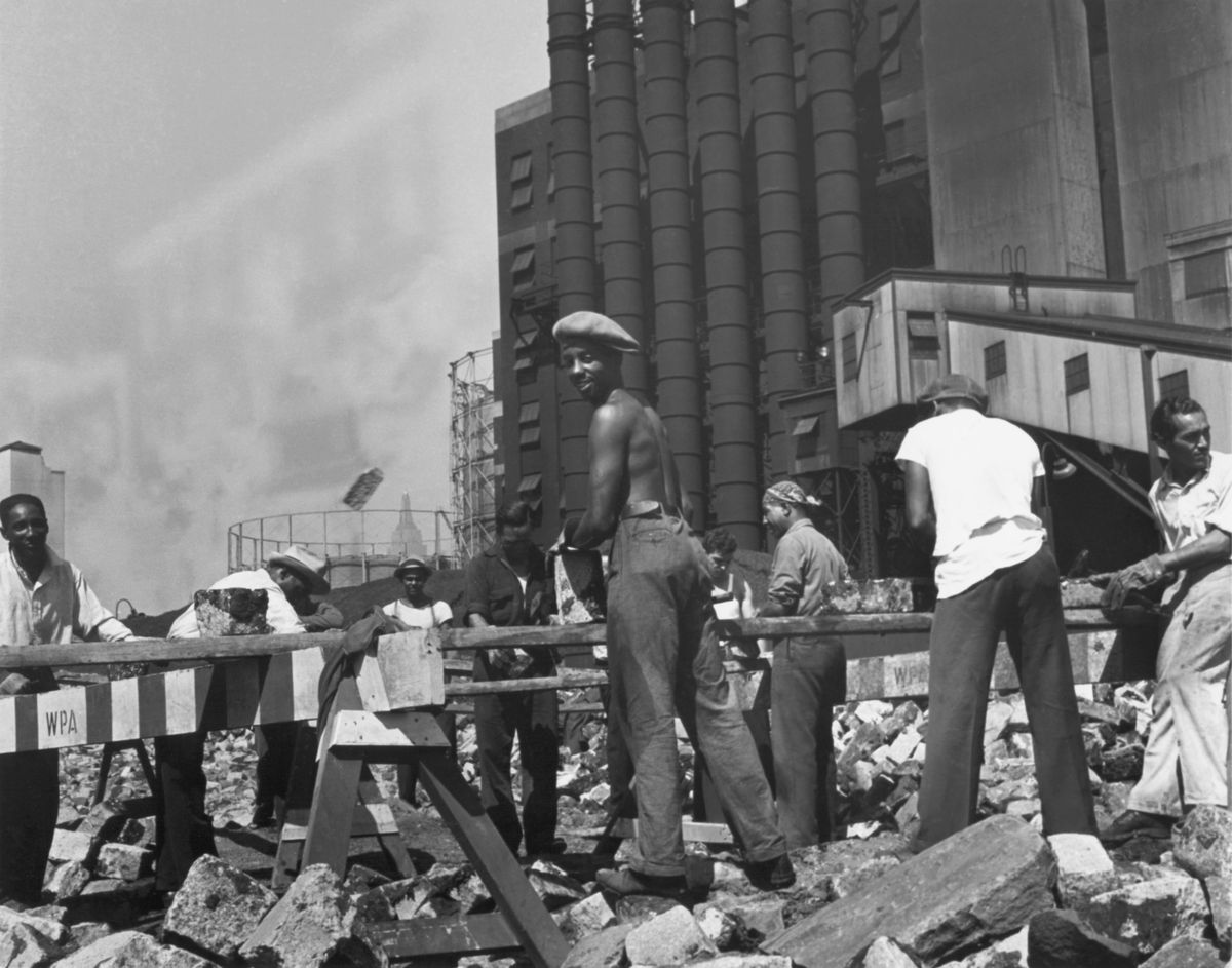 A group of laborers working in New York City as part of the New Deal-era WPA program.